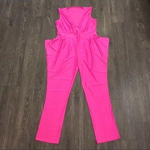 Vintage 70s/80s bubblegum hot pink flowy jumpsuit